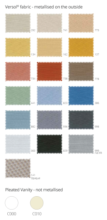 Color pallette Pleated Blinds