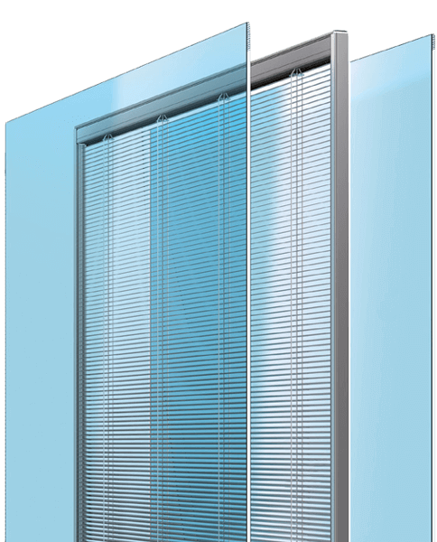 Integrated blind between 2 panels of glass.